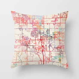 Southaven map Mississippi MS Throw Pillow