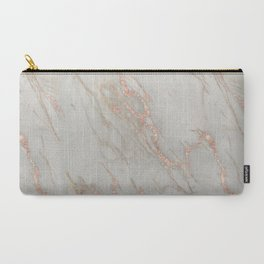 Marble - Rose Gold Marble Metallic Blush Pink Carry-All Pouch