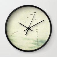 flight Wall Clocks featuring flight by Bonnie Jakobsen-Martin
