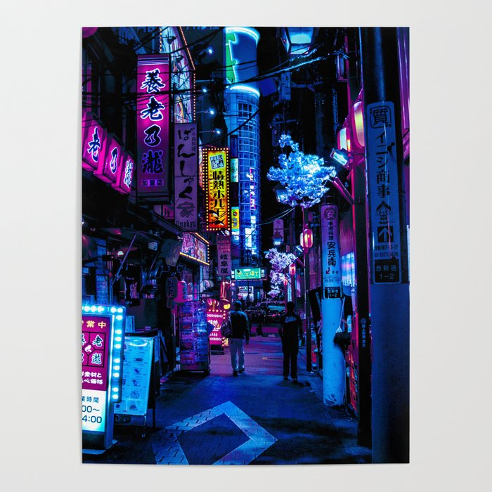 Tokyo's Moody Blue Vibes Poster