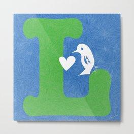 L bird and heart Metal Print