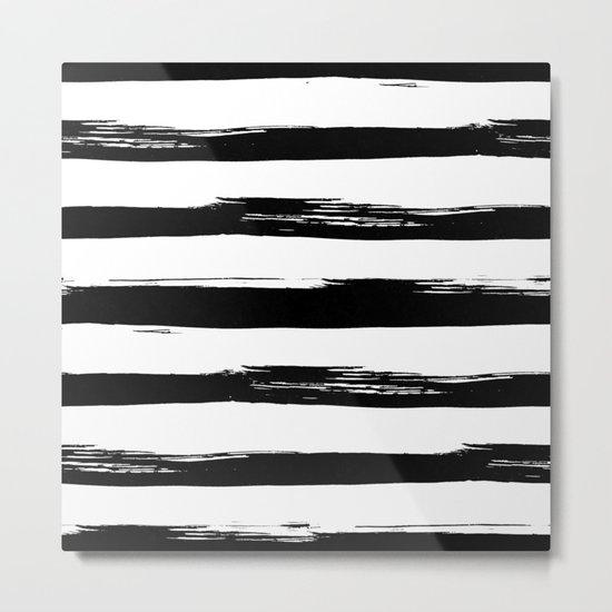 Stylish Black and White Stripes Metal Print