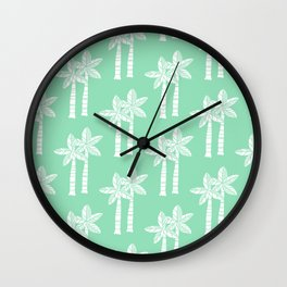 Palm Tree Pattern Mint Green Wall Clock