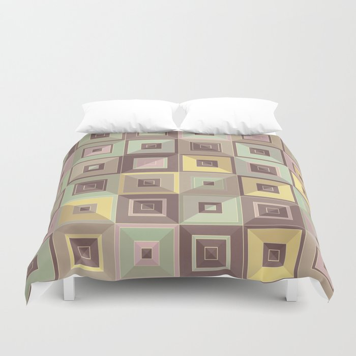 Lost in Squares IV Duvet Cover