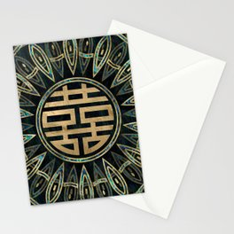 Double Happiness Symbol Gold and Abalone Stationery Cards