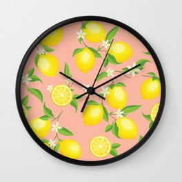 You're the Zest - Lemons on Pink Wall Clock