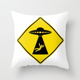 Alien Abduction Safety Warning Sign Throw Pillow