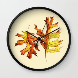 Ink And Watercolor Painted Dancing Autumn Leaves Wall Clock