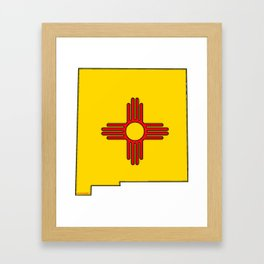New Mexico Map with State Flag Framed Art Print