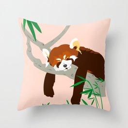 Snoozing Red Panda Throw Pillow