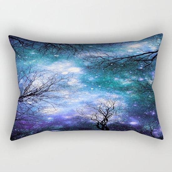 Black Trees Teal Violet Space Rectangular Pillow