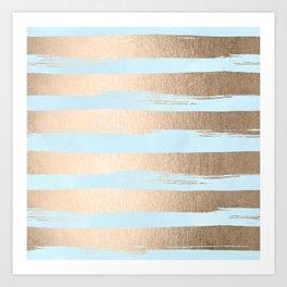 Paint Stripes Gold Tropical Ocean Sea Turquoise Art Print