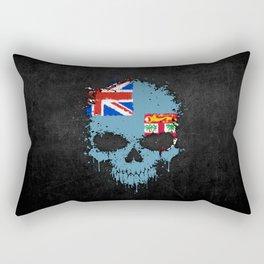 Flag of Fiji on a Chaotic Splatter Skull Rectangular Pillow
