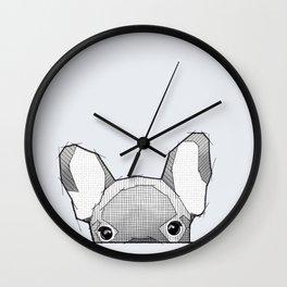 Hiding frenchy - grey Wall Clock