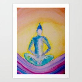 Sitting buddha on waves Art Print
