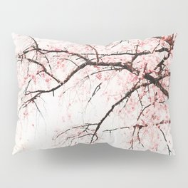 Cherry tree pink blossoms branches watercolor painting Pillow Sham