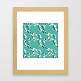 Cherry blossoms in Aqua Framed Art Print