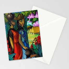 'Tehuanas con floripondios y gladiolas' floral tropical painting by Alfonso Pena Stationery Cards