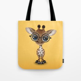 Cute Curious Baby Giraffe Wearing Glasses Tote Bag