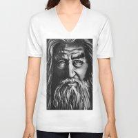 gandalf V-neck T-shirts featuring Gandalf by spiderdave7