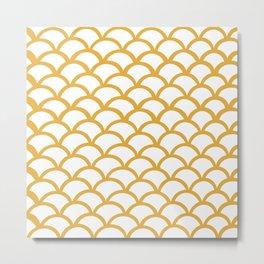 Gold mermaid tail pattern Metal Print
