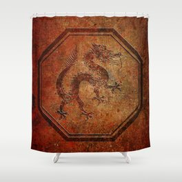 Distressed Chinese Dragon In Octagon Frame Shower Curtain