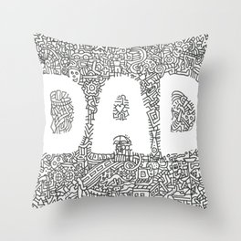 Father's Day Doodle Drawing Throw Pillow