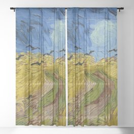 Wheat Field with Crows, Vincent Van Gogh Sheer Curtain
