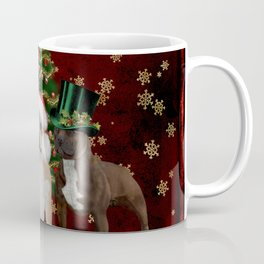 Christmas time, funny Staffordshire Bull Terrier and Rottweiler with christmas hat Coffee Mug