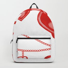 Watercolor Red Heart Lock Hanging Pattern Backpack
