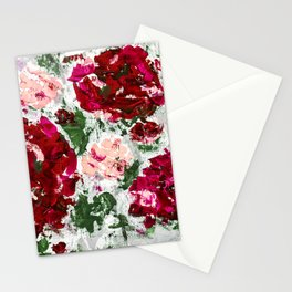 Romance - Red Roses - Abstract Painting Stationery Cards