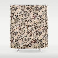 bicycles Shower Curtains featuring Bicycles by Mario Zucca