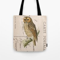 postcard Tote Bags featuring Owl postcard by Vintage@Heart