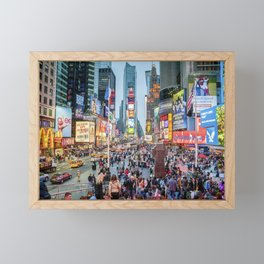 Times Square Tourists Framed Mini Art Print