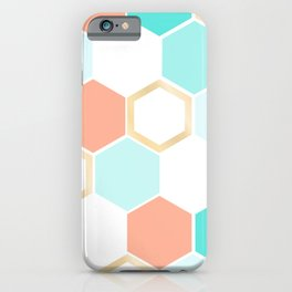 honeycomb coral & blue iPhone Case