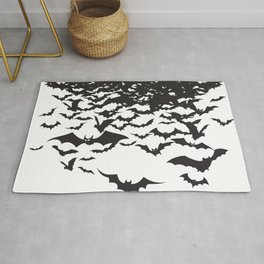 Halloween Bat Black and White Pattern Rug