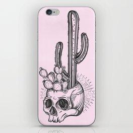 Cactus Skull Black on Pink iPhone Skin