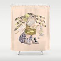 virgo Shower Curtains featuring Virgo by monika petersen