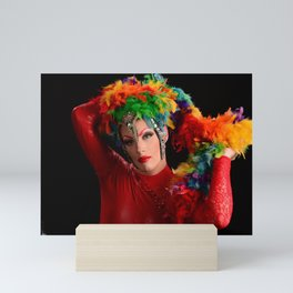 Drag Queen in Rainbow Headdress Mini Art Print