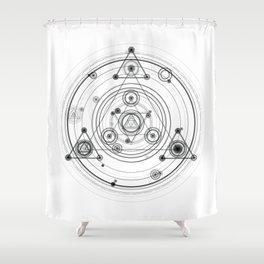Sacred geometry and geometric alchemy design Shower Curtain
