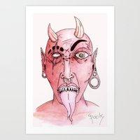 devil Art Prints featuring dEVIL by SpookyArt