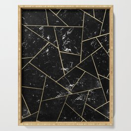 Black Marble Gold Geometric Glam #1 #geo #decor #art #society6 Serving Tray