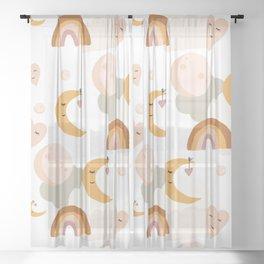 boho retro moon rainbow kids pattern illustration Sheer Curtain