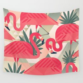 Retro Flamingo Patter Wall Tapestry