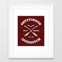 gryffindor Framed Art Prints featuring Gryffindor Quidditch by Sharayah Mitchell