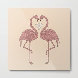 Flamingos and Heart Metal Print