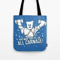 carnage Tote Bags featuring All Carnage! by Locust Years