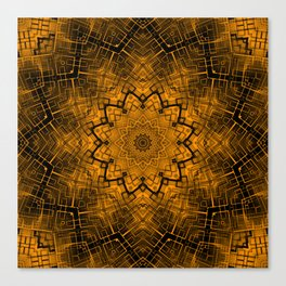 Black and yellowbrown kaleidoscope Canvas Print