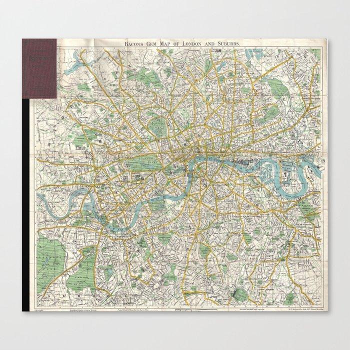 Map Of London 1900.Vintage Map Of London England 1900 Canvas Print By Bravuramedia