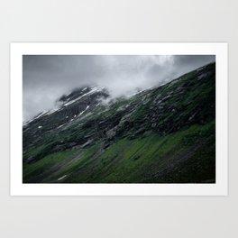 Misty rocks Art Print